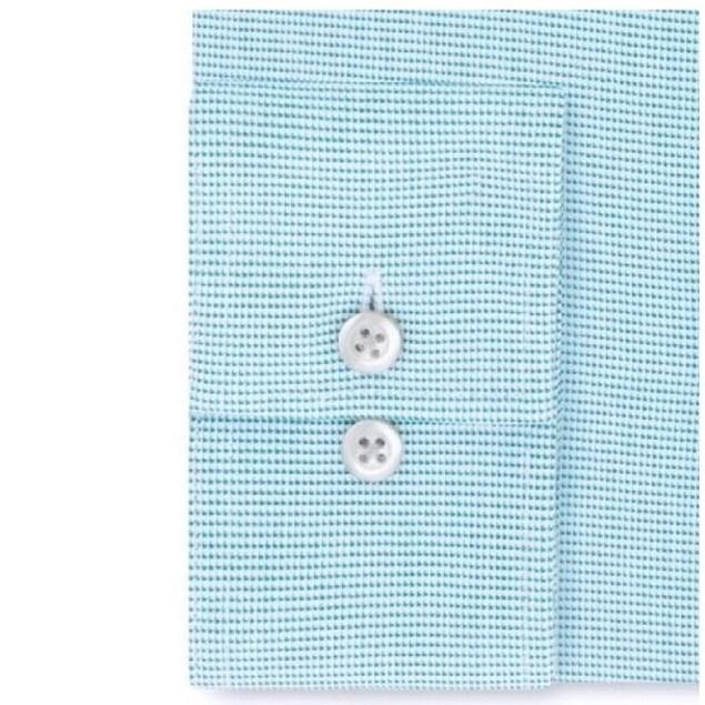 Van Heusen Men's Stretch Flex Collar Solid Dress Shirt Blue Size 17-32-33