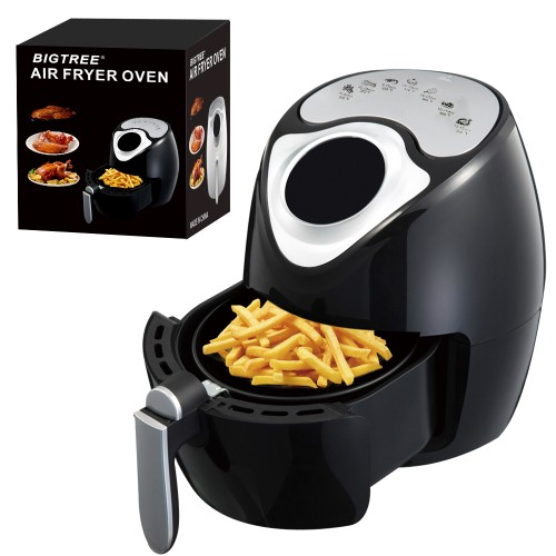 BIGTREE 3L Air Fryer, Family Size Electric Hot Air Fryers LCD Digital Touch Screen Nonstick Detachable Basket, UL Certified,1300W (Black)