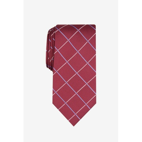 Club Room Men's Canton Grid Tie Red Size Regular