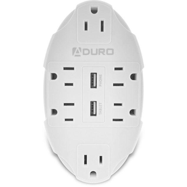 Aduro 6-Outlet Surge Protector with Dual USB Ports