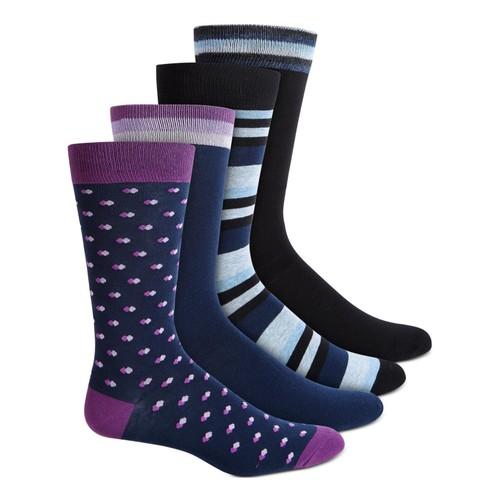 Bar III Men's 4 Pack Printed Dress Socks Navy One Size