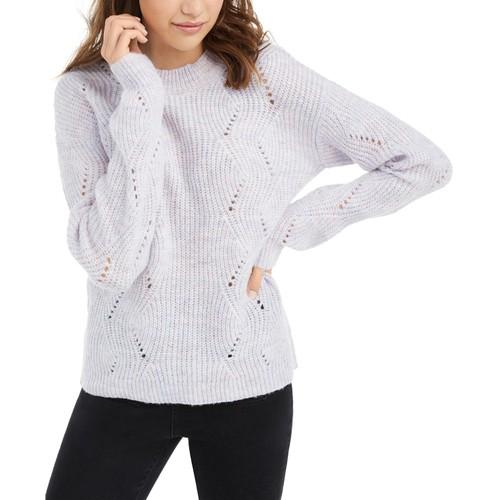 Hippie Rose Juniors' Marled Mock-Neck Sweater Purple Size Medium