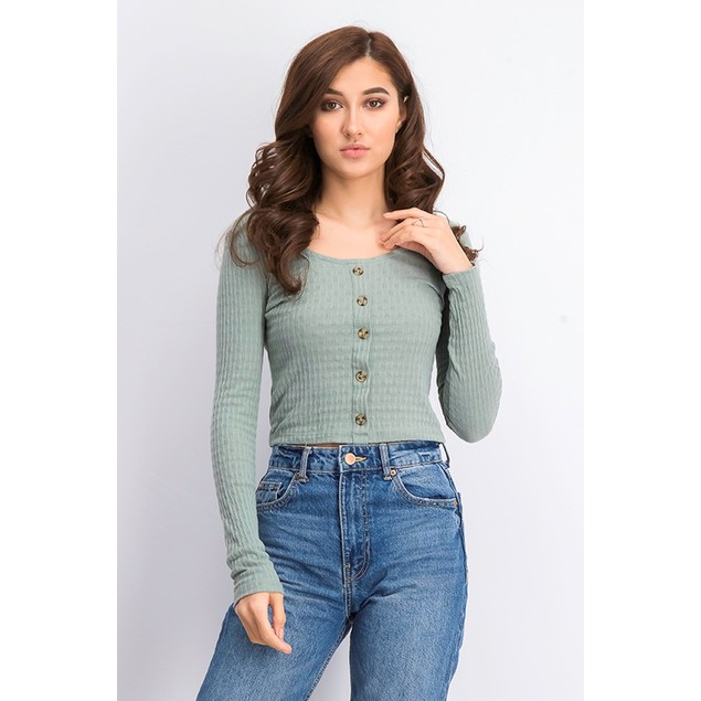 Hippie Rose Juniors' Pointelle Crop Top Med Green Size Small