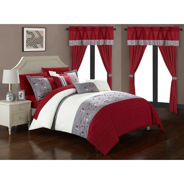 Chic Home 20-Piece Dionesia Color Block Floral Embroidered Comforter Set