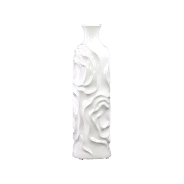 Urban Trends Ceramic Round Cylindrical Vase Neck and Wrinkled Sides White