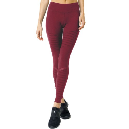 Athletique Leggings With Hidden Pocket and Mesh Panels - Red