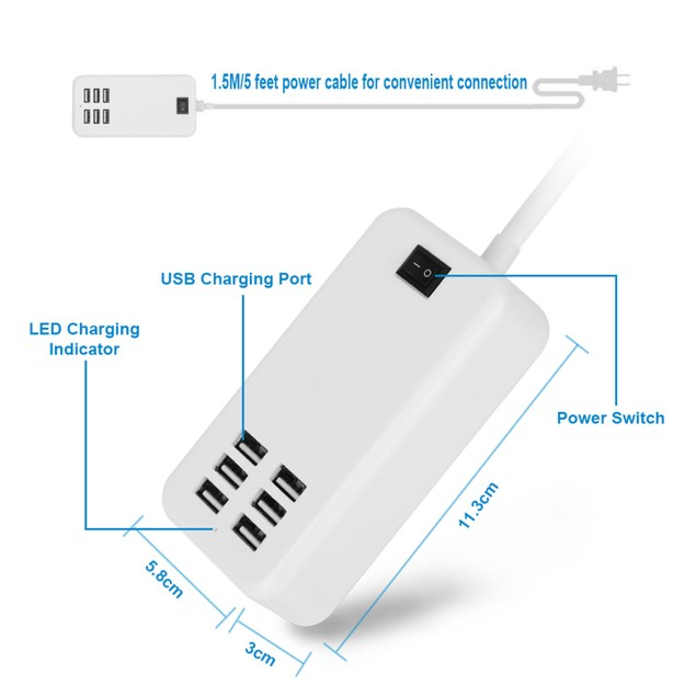 Multiport 6-USB US AC Wall Charger
