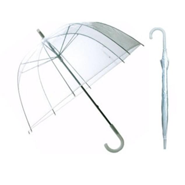 """46"""" Adult Clear Bubble Dome Umbrella Plastic Auto Open Rain Rainstopper Arc"""