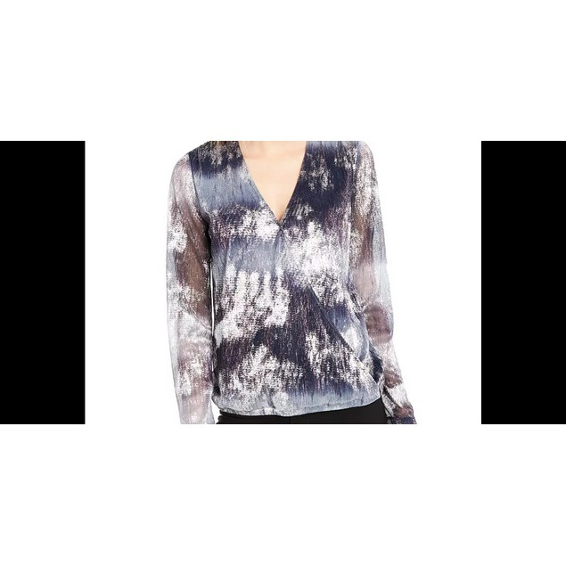 INC International Concepts Women's Printed Surplice Blouse Navy Size Small