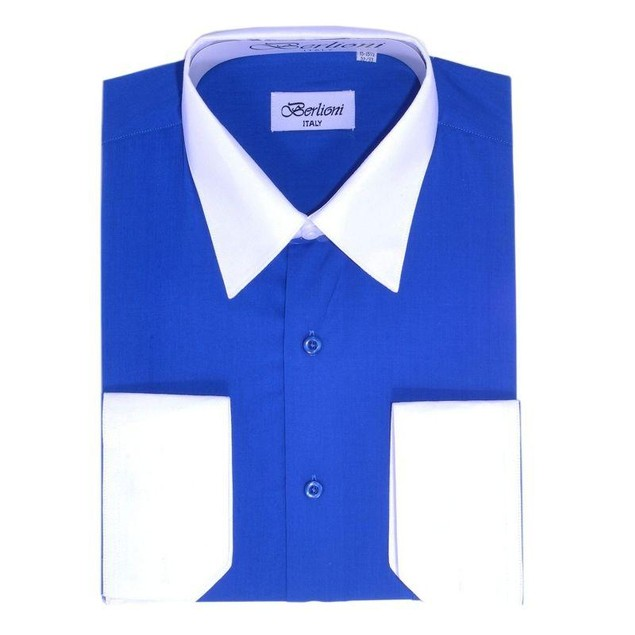 Mens Two-Tone Dress Shirt Royal Blue / White Dress Shirt N533