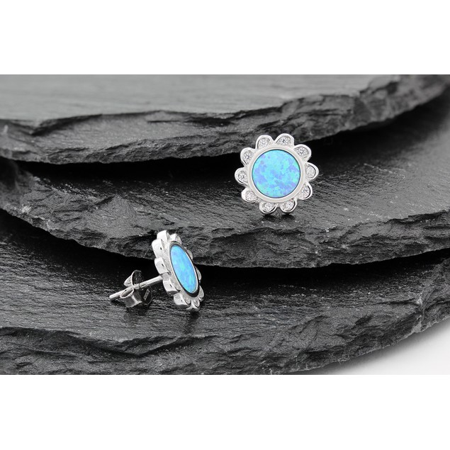 Blue Fire Opal Stud Earrings in .925 Sterling Silver