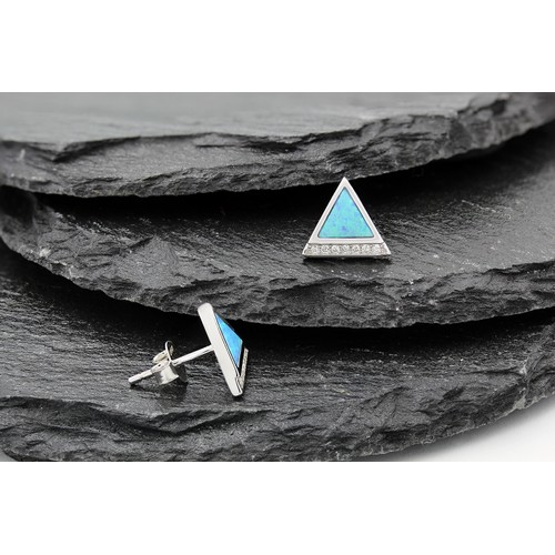 Blue Fire Opal Stud Earrings in .925 Sterling Silver