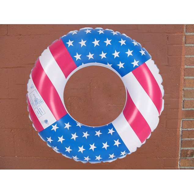USA Flag Inflatable Tube Ring Swimming Arm Rings Float Raft Ring Water Pool