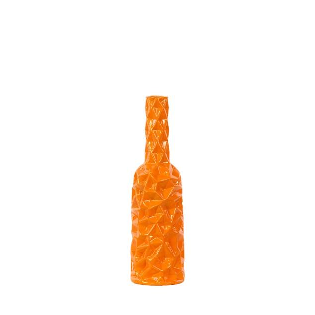 Urban Trends Ceramic Round Bottle Vase with Wrinkled Sides Medium Orange