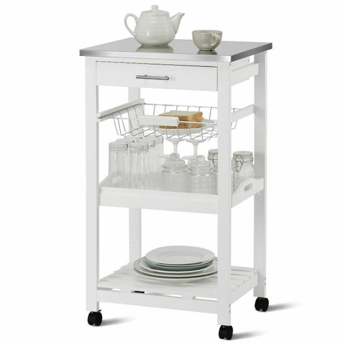 Costway Rolling Kitchen Trolley Cart Steel White Top Removable Tray W/Stora