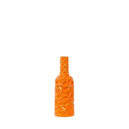 Urban Trends Ceramic Round Bottle Vase with Wrinkled Sides Small Orange