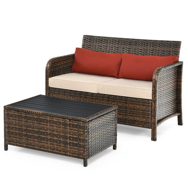 Costway 2PCS Patio Rattan Furniture Set Cushioned Loveseat Table Garden Dec