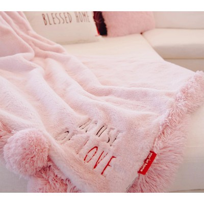 "Peace Love World 60"" x 70"" Luxury Shag Throw with Pom-Poms, Blush"