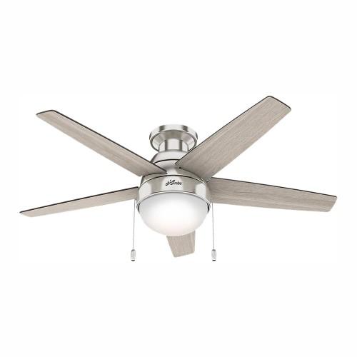 """Hunter Parmer 46"""" LED Indoor Brushed Nickel Finish Flush Mount Ceiling Fan"""