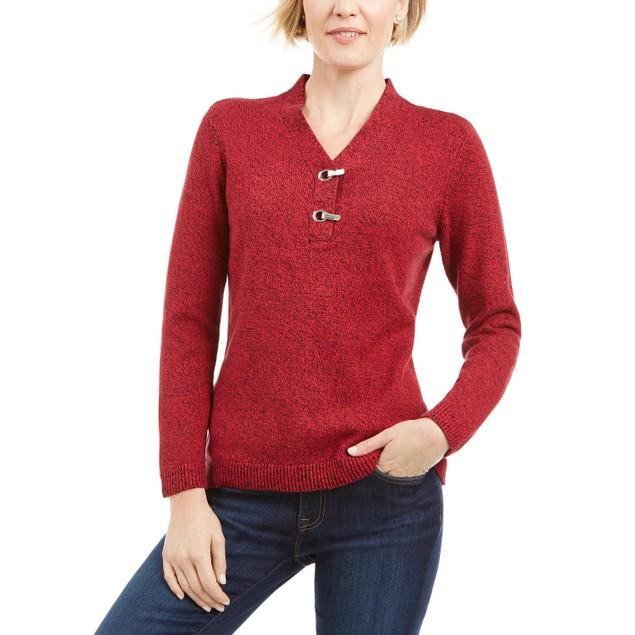 Karen Scott Women's Cotton Marled Henley Sweater Bright Red Size Large
