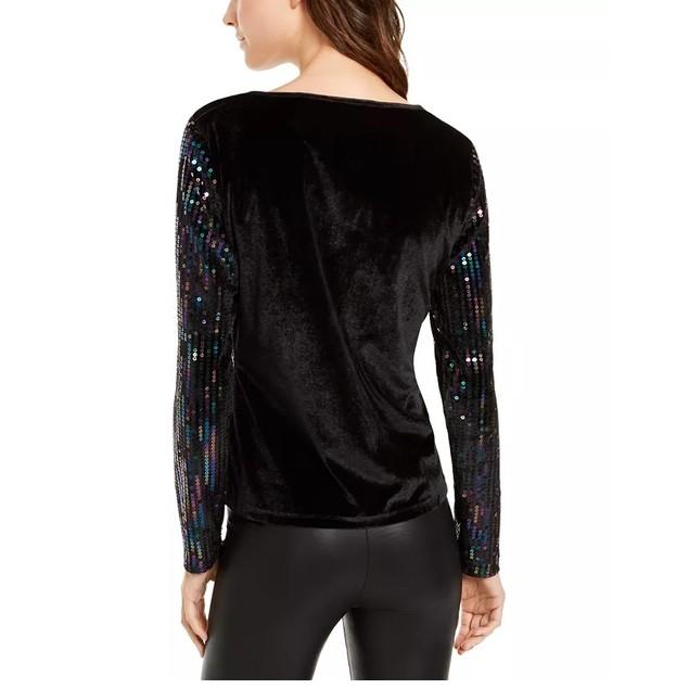 INC International Concepts Women's Sequinned Velvet Top Black Size XX-Large