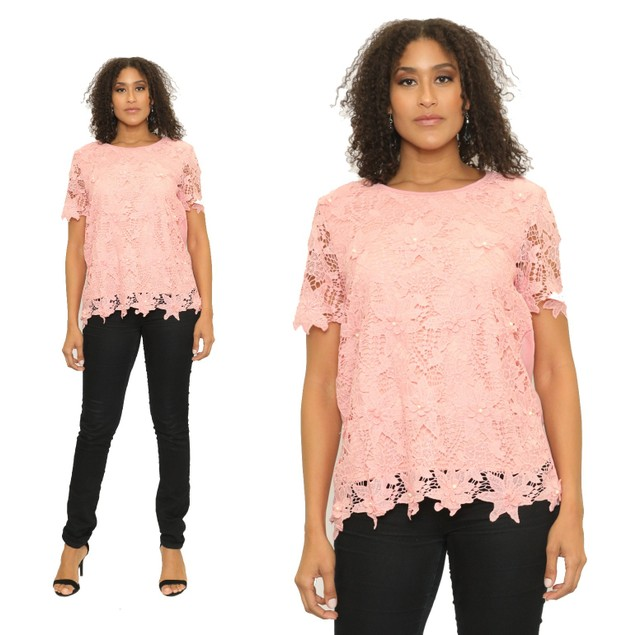 Women's Crochet Pattern Short Sleeves Top Blouse T-Shirt