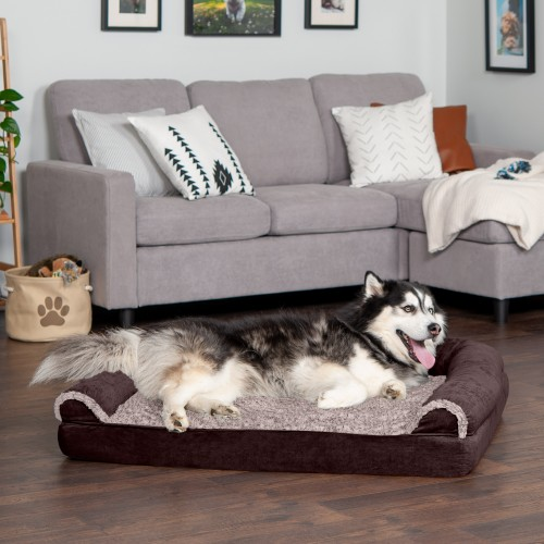 FurHaven Two-Tone Faux Fur & Suede Orthopedic Sofa Pet Bed