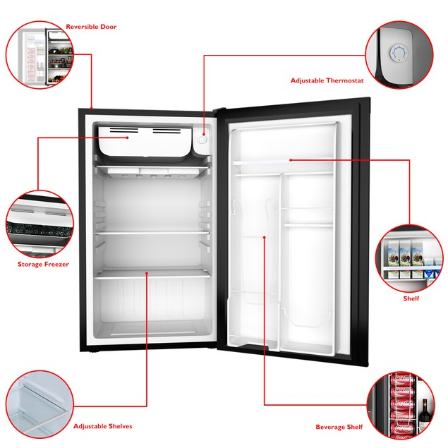 Costway 3.2 Cu.Ft. Compact Refrigerator Mini Dorm Small Fridge Freezer Reve