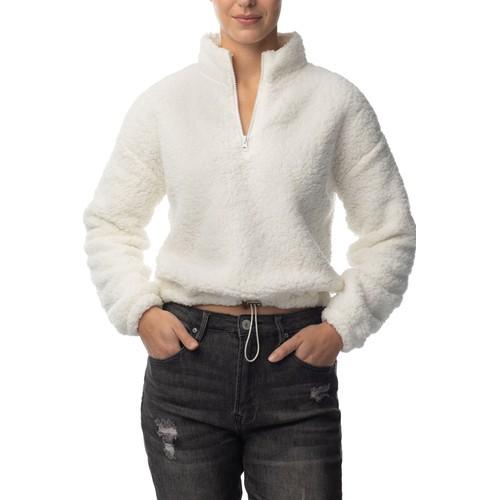 Almost famous sherpa teddy zip neck drawstring sweatshirt style