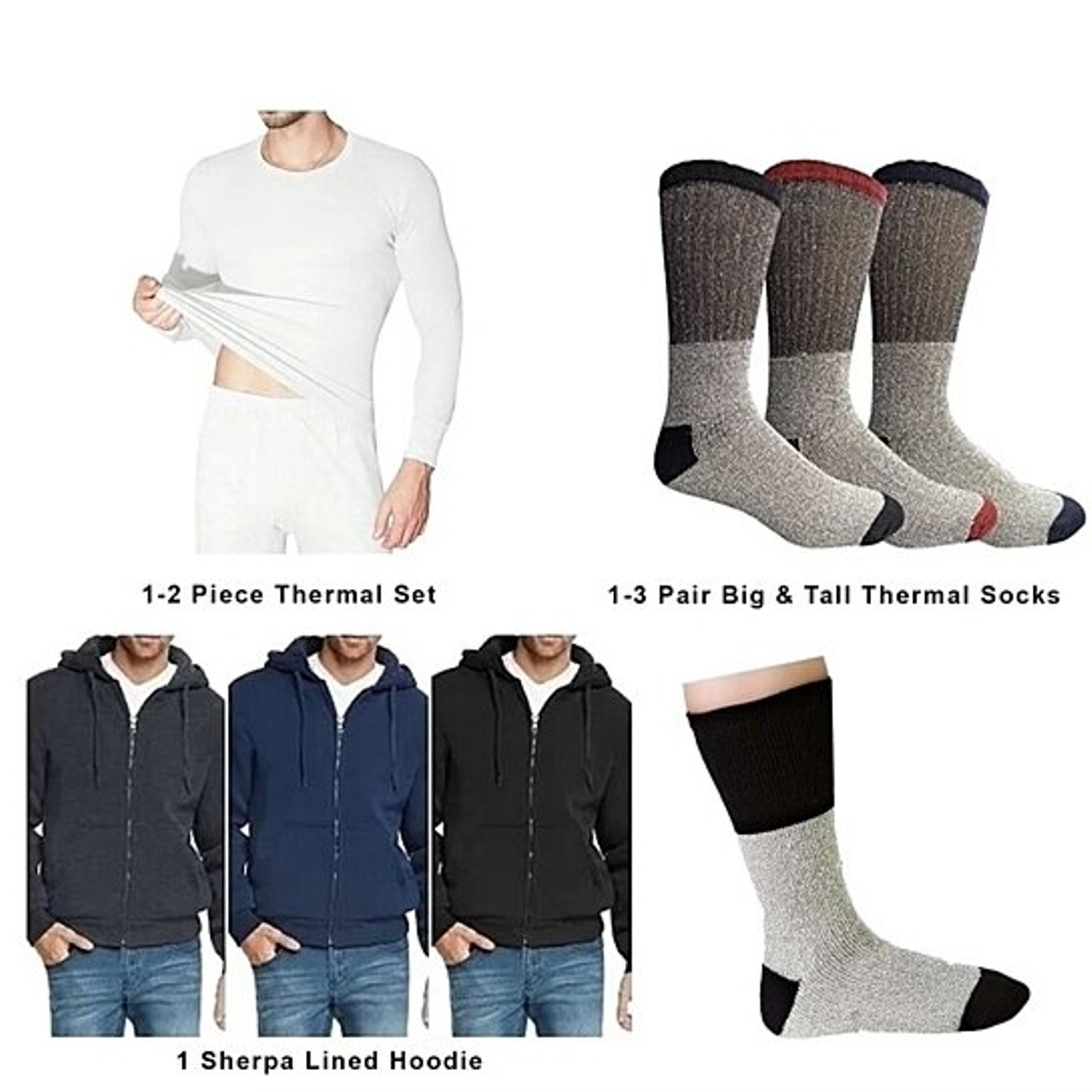 6-Piece Men's Sherpa Lined Hoodie, 2-Piece Thermal Set, Thermal Socks
