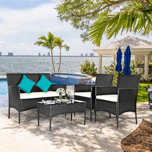 Costway 4PCS Patio Rattan Cushioned Furniture Set