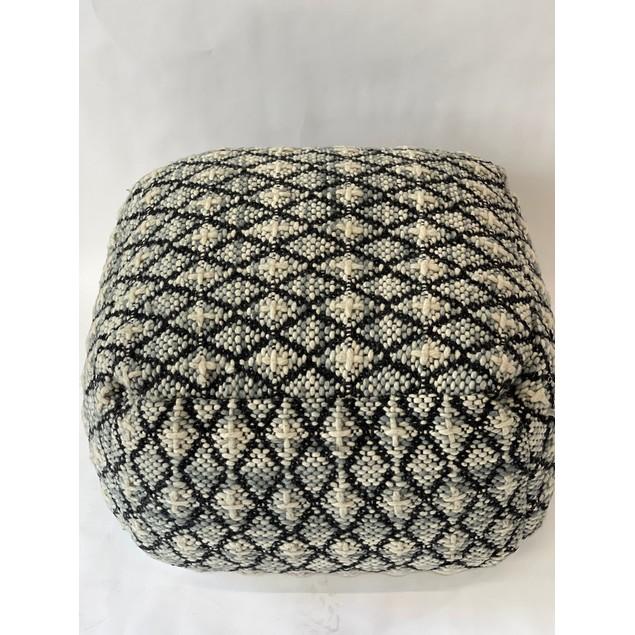 Spura Home Handmade Knitted Pouf Wool Hand Woven Ottoman