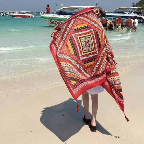 Shawl Beach Towels Rectangle Polyester Scarf Travel Sarong Wrap Swimwear Cover Up Beach Mats