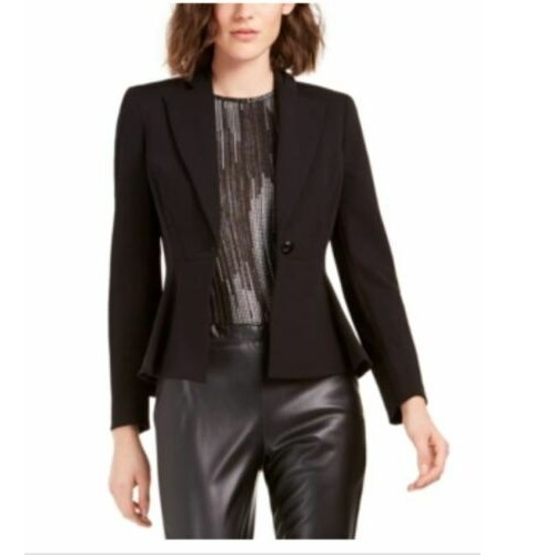 Bar III Women's Crepe Peplum Blazer Black Size 2