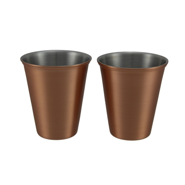 Set Of 2 Satin Finish Stainless Steel Copper Mug Sets