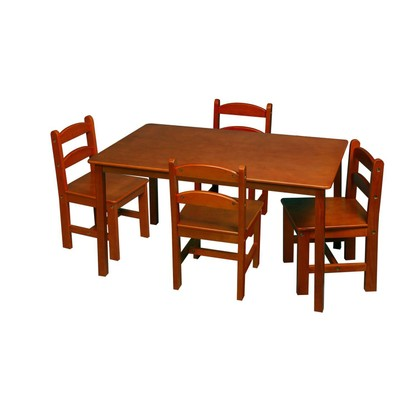 Gift Mark Children's Honey Rectangle Square Table With 4 Chairs