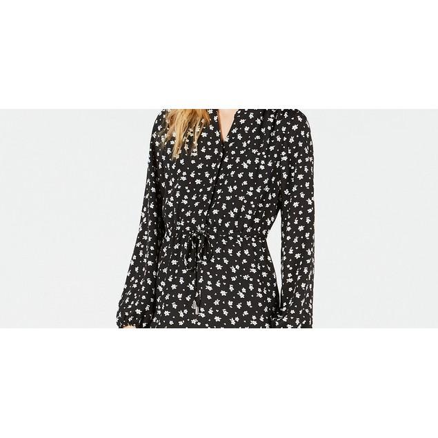 Maison Jules Women's Long-Sleeved Shirt Dress Black Size Large