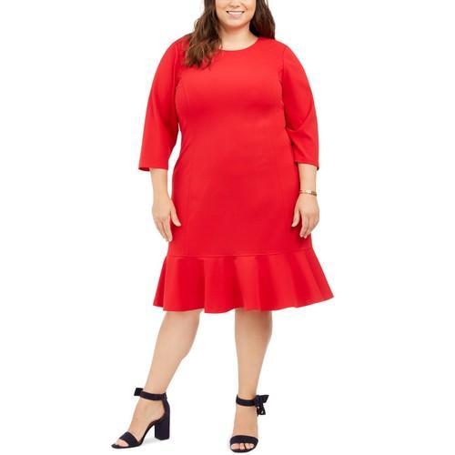 Tommy Hilfiger Women's Plus Size Ruffled-Hem A-Line Dress Red Size 20