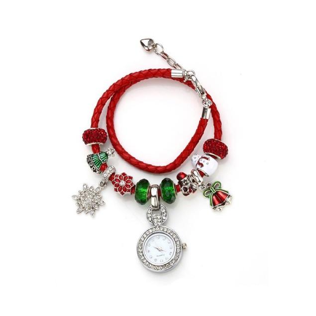Novadab Santa Claus Shamballa Red Green Bracelet Watch