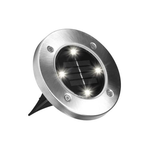 Bell + Howell Solar Powered Stainless Steel LED Outdoor Disk Light, Silver