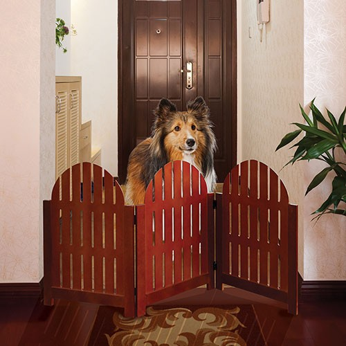 Wooden Folding Stand Alone Pet Dog Gate Walnut Freestand Pet Fence