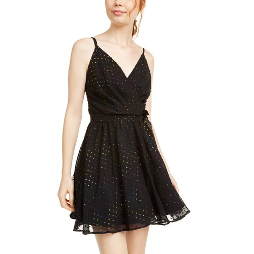 As U Wish Juniors' Multicolored Metallic-Dot Chiffon Dress Black Size 3