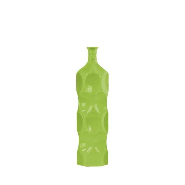Urban Trends Ceramic Round Bottle Vase with Dimpled Sides Medium Green