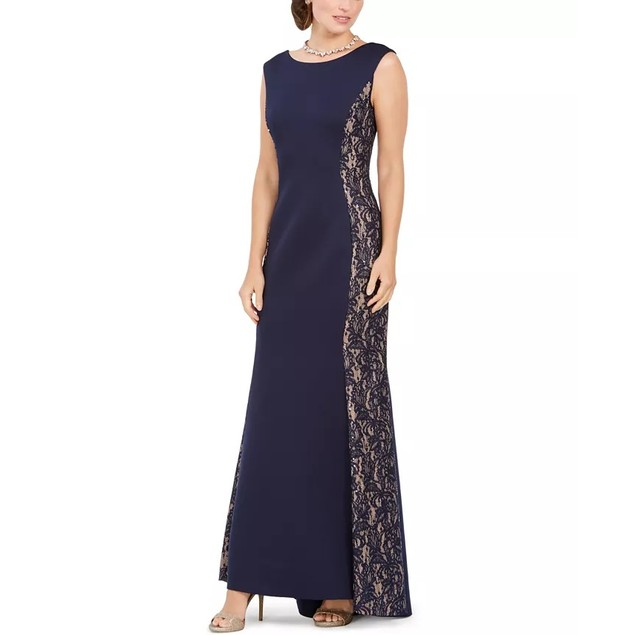 Jessica Howard Women's Sequined-Lace Scuba Mermaid Gown Navy Size 14