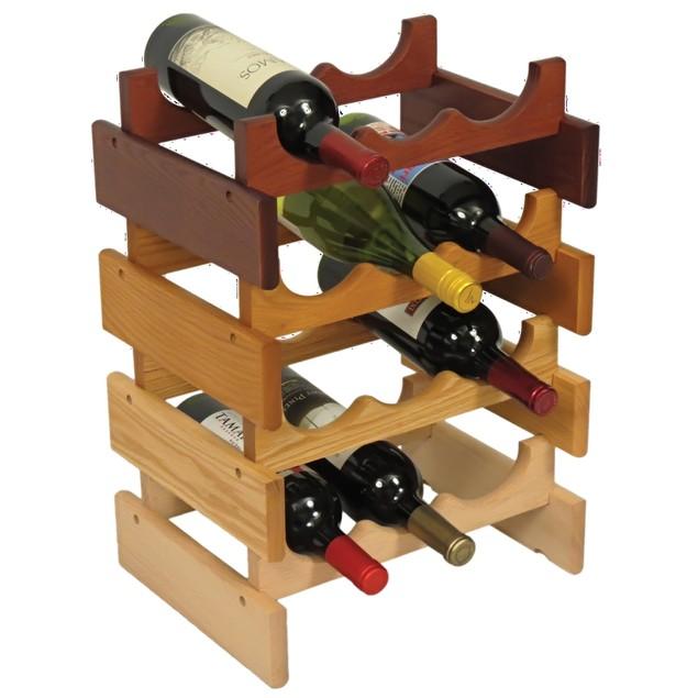 Stacking Countertop Wine Bottle Holder Rack Organizer Furniture Medium Oak