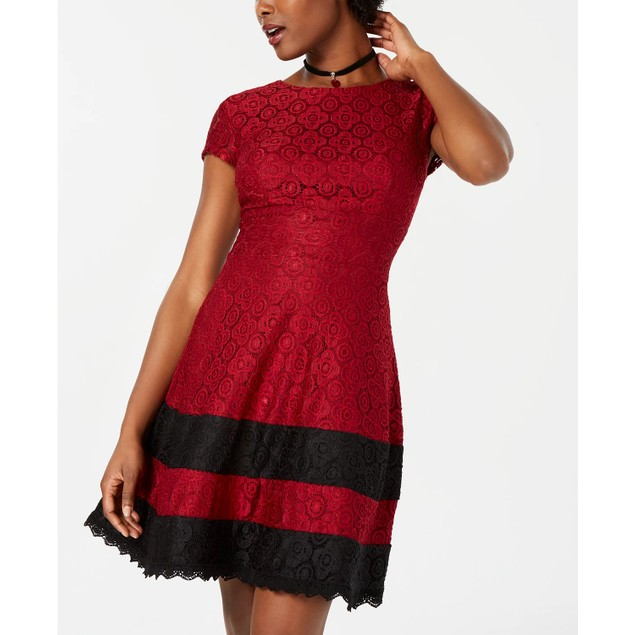 Teeze Me Junior's Lace Fit & Flare Dress Red Size 11