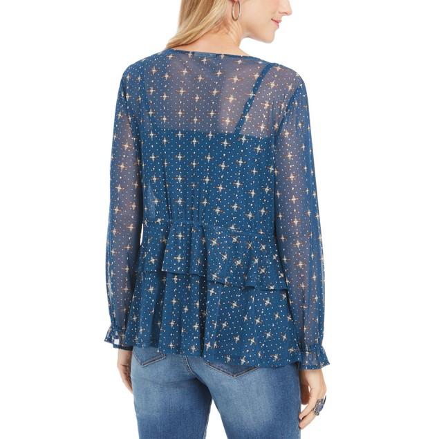 Style & Co Women's Printed Mesh Top Blue Size Medium