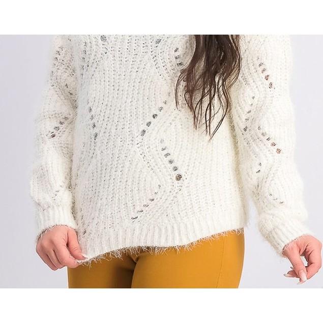 Freshman  Juniors' Pointelle Chenille Sweater White Size Medium