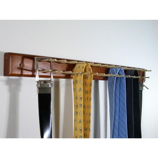 Proman Products Home Wardrobe Tie Hanger - Walnut Finish