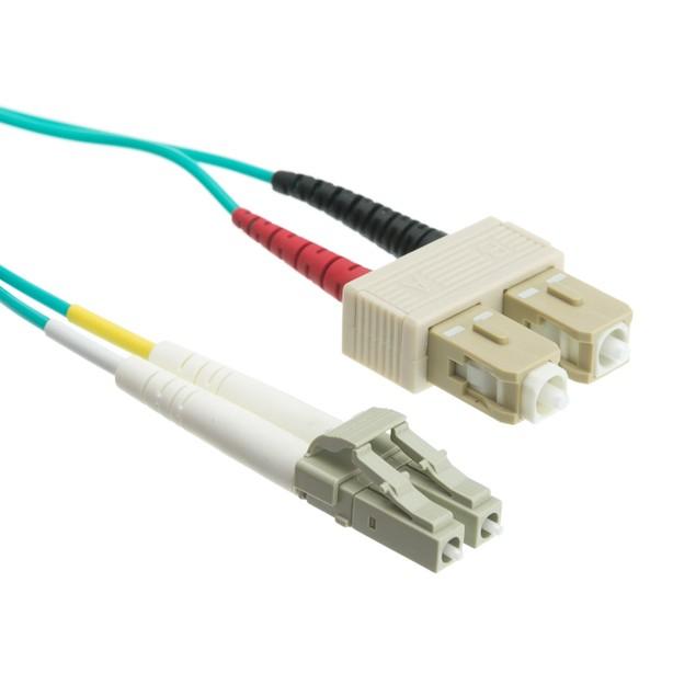 10 Gigabit Aqua Fiber Optic Cable, LC / SC, Multimode, (6.6 foot)